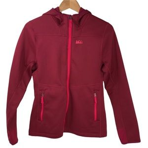REI Co-op Girls Hooded Full Zip Shell Layer Jacket Large